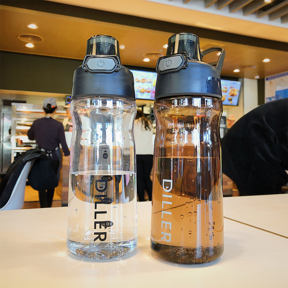 H58fc4576afba42ae8bf5e6607c3b93c9Q DILLER Water Bottle Popular Gray Men Outdoor Sport Travel My Drink Bottle Portable Leakproof Plastic Milk fruit gym Bottles