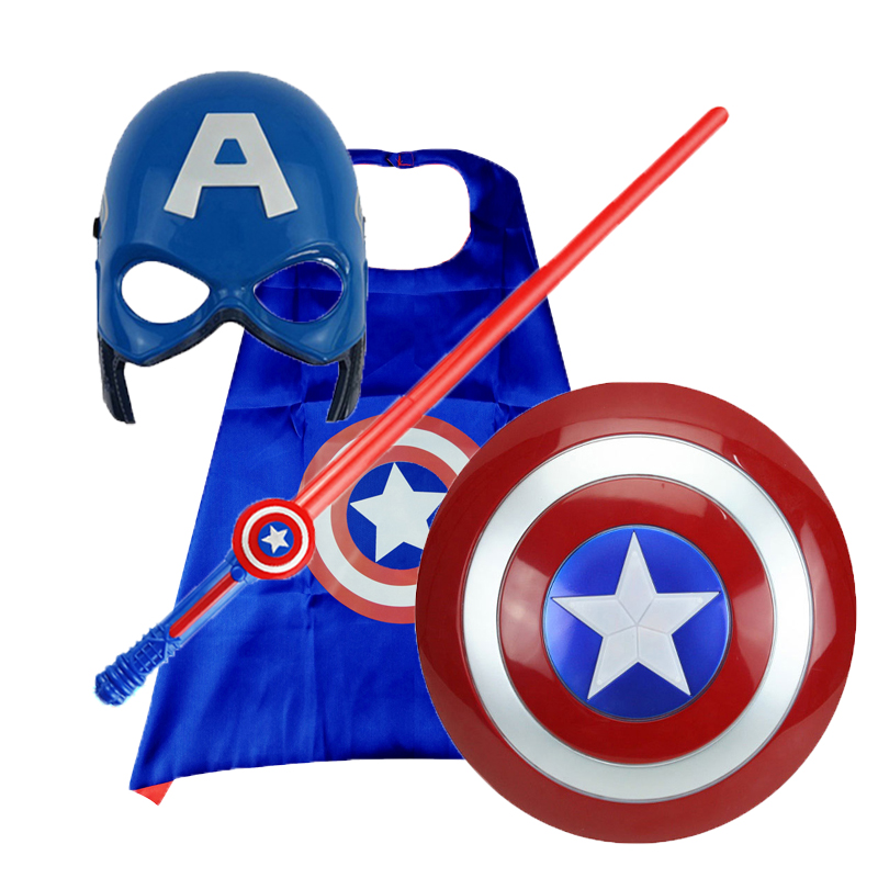 American Captain,shield,Cape,mask,children's Flash Sword,laser Sword, Cosplay Hero League Children's Toy For Birthday Present
