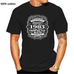 Men's Print Casual 100% Cotton T-Shirt Popular Buy August 1983 Legends 35th Birthday Gift 35 Years Old Fashion Mens T Shirt
