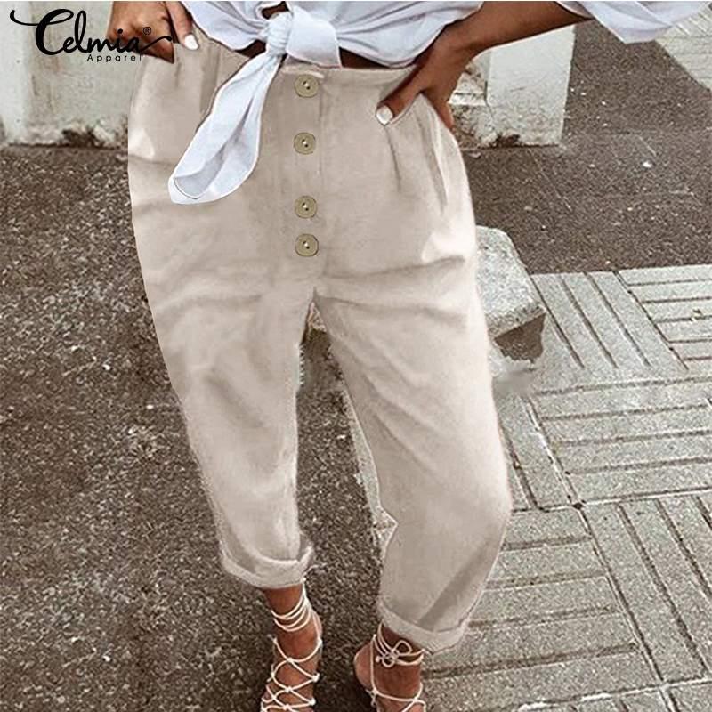 2020 Summer High Waist Harem Pants Women Celmia Vintage Solid Casual Loose Buttons Long Trousers Cargo Pantalon Plus Size S-5XL