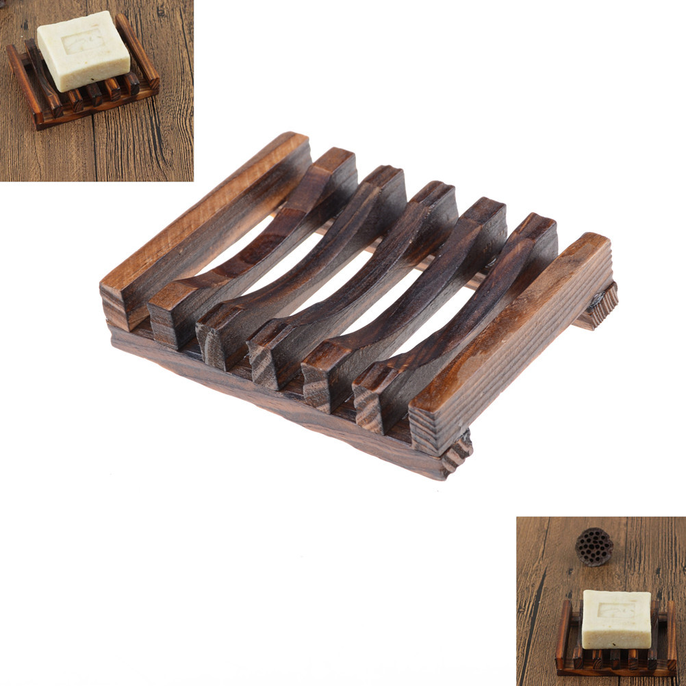 Natural Carbide Wood Soap Dish Wooden Soap Container Travel Wood Soap Box Shower Plate Bathroom Soap Holder