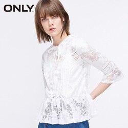 Женская свободная круглым вырезом расклешенными рукавами кружевными вырезами рубашка |119130504