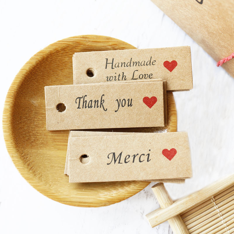 100pcs Kraft Paper Gift Bags Tags Thank You Handmade With Love Hang Tags Candy Dragee Wedding Paper Cards Handmade Paper Labels
