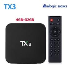AmlogicS905X3 TX3 Android Tvกล่องYoutube MediaPlayer 4GB32GB 2.4G5G WIFI 1000M BT4.0 1080PชุดTvBox 8K Tanix TX3 S905X3