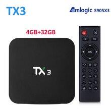 ТВ приставка AmlogicS905X3 TX3, Android, Youtube, медиа плеер, 4 ГБ/32 ГБ, 1000 Гб/5 ГБ, Wi Fi, 1080 м, BT4.0, P, комплект ТВ приставки 8K Tanix TX3 S905X3