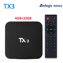 Amlogics905x3 tx3 caixa de tv android youtube mediaplayer 4gb32gb 2.4g5g wifi 1000m bt4.0 1080p conjunto tvbox 8k tanix tx3 s905x3