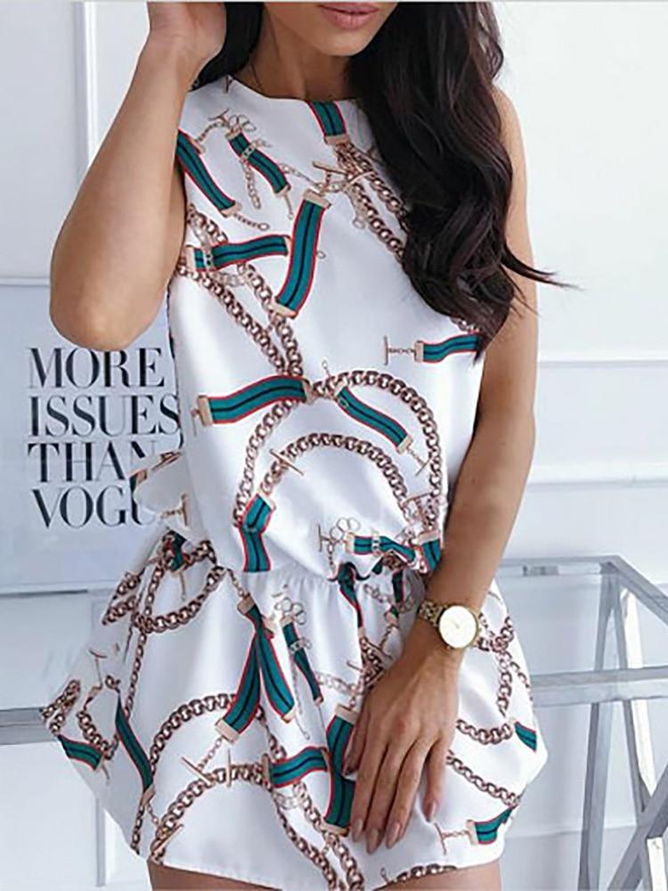 2021 New Style Vintage Chains Plaid Print Dresses Office Lady 0-Collar Elegant Dress Casual Sleeveless Sashes Slim Mini
