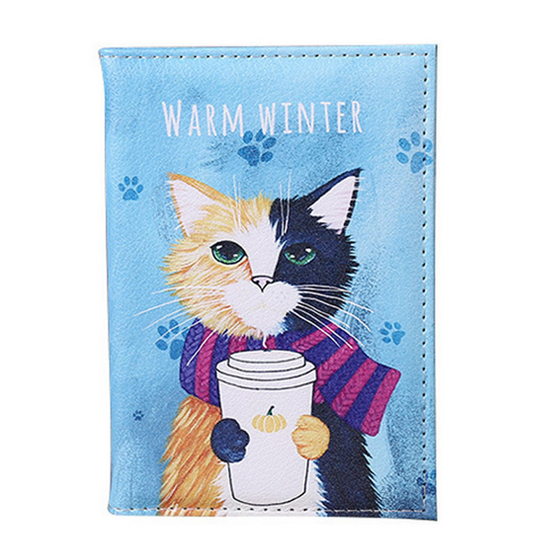Cartoon Animal Cat Travel Passport Cover Women Men Passport Credit Card Holder Case PU Leather Business Card Passport Wallet