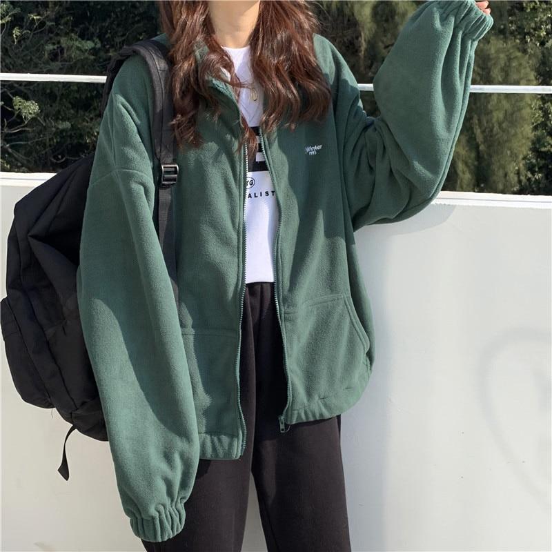 Zip-up Women Korean Style Hoodies Vintage Solid Color Long Sleeve Oversized Hooded Sweatshirt Lady Women Casual Large Coats 13