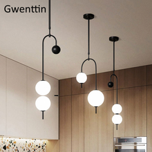 Modern Glass Ball Pendant Light Nordic Black Iron Hanging Lamps Kitchen Dining Room Lights Cafe Bar Industrial Lamp Home Decor