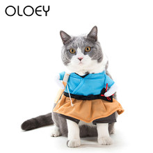 Christmas Pet Cat Soft Clothes Uniform Suit Dress Cosplay For Small Dog Cat Puppy Holiday Party Cosplay Dress Funny Supplies(China)