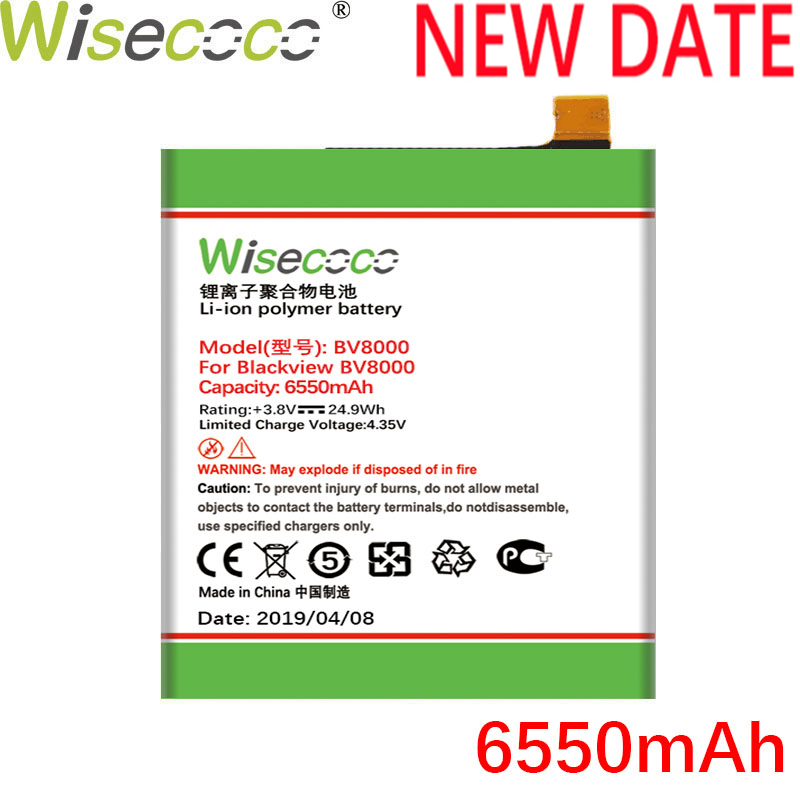 Wisecoco <font><b>BV8000</b></font> 6550mAh New Production Battery For <font><b>Blackview</b></font> <font><b>BV8000</b></font> BV 8000 <font><b>Pro</b></font> V636468P High quality Battery+Tracking Number image