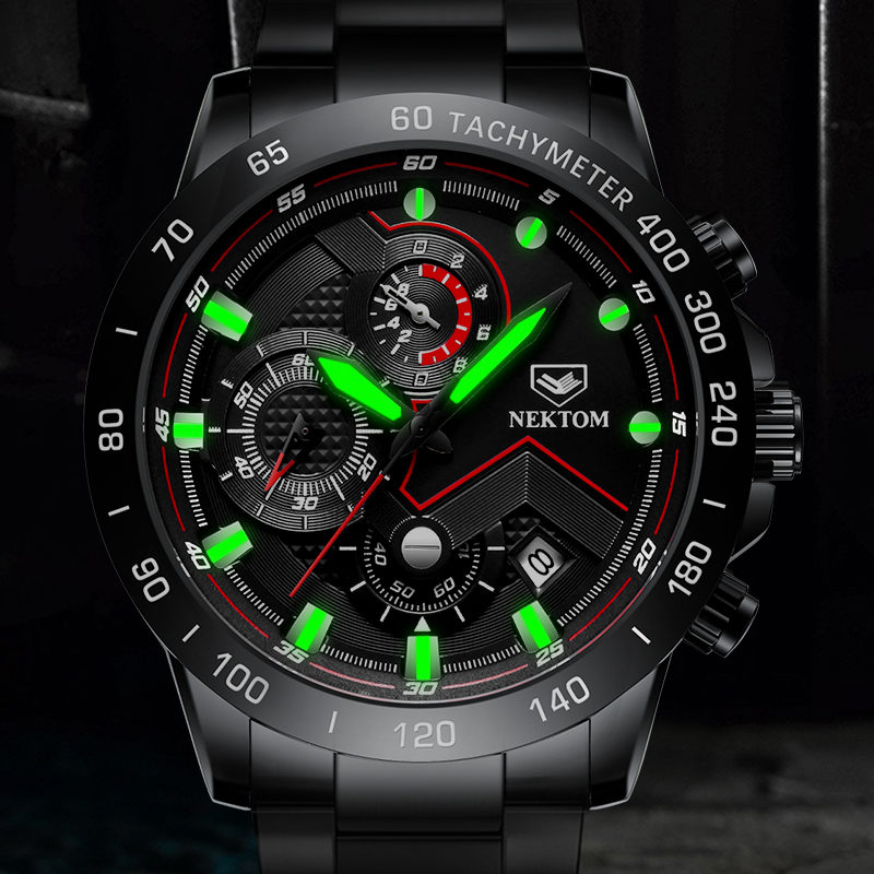 NEKTOM New Fashion Mens Watches Stainless Steel Luminous Top Brand Luxury Sports Chronograph Quartz Watch Men Relogio Masculino