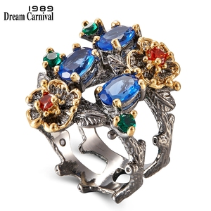 Image 5 - DreamCarnival 1989 New Arrived Flower Style Drop Earrings ring set  Blue Zirconia Anniversary Party Chic Jewelry Hot ER3877S2
