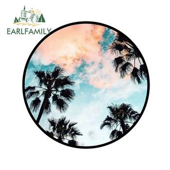 EARLFAMILY 13cm x 12.7cm for Coconut Cloudy Sky Motorcycle Car Stickers Waterproof Windshield Cartoon Trunk Refrigerator Decal image