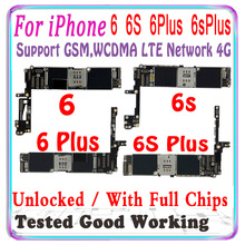 100% original para iphone 6s 6 plus placa mãe livre icloud para iphone 6s plus placa lógica com chips ios apoio lte 4g mb