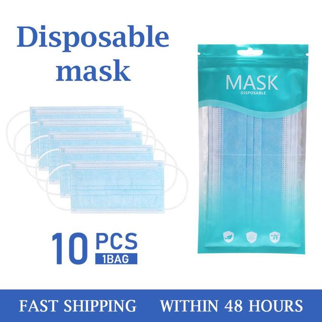 10pcs/20pcs/50Pcs/100pcs Mask Disposable Non wove 3 Layer Ply Filter Mask mouth Face mask Breathable Earloops Masks 2
