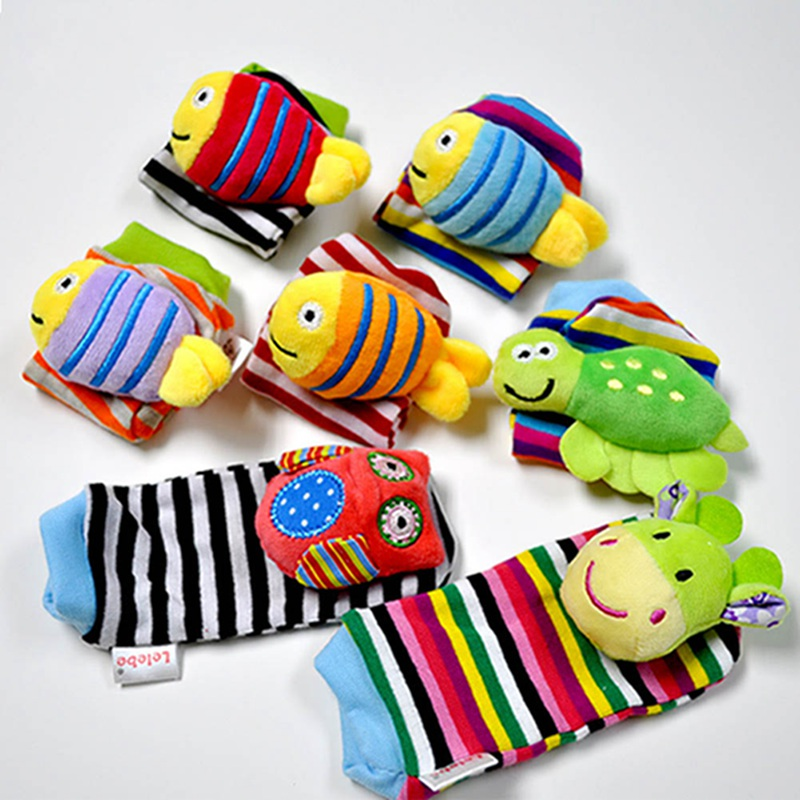 Infant Baby Kids Socks Rattle Toys Cute Cartoon Animals Plush Foot Socks Rattles For 0~24 Months