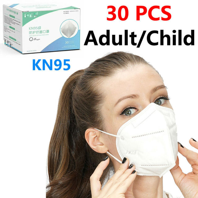KN95 Non-woven Baby Protective Mask Anti-flu Health Care Standard Proof Safety Protective Mouth for Adults and Child 30 PCS