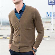 Męski kardigan z głębokim dekoltem w serek z przodu sweter z kieszeniami Trend w modzie tanie tanio Pojedyncze piersi Stałe V-neck Na co dzień Cardigan REGULAR Pełna STANDARD