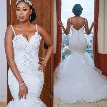 Modest African Plus Size suknie ślubne 2020 robe de mariee Mermaid suknie ślubne koronki z kryształkami Handmade suknia ślubna