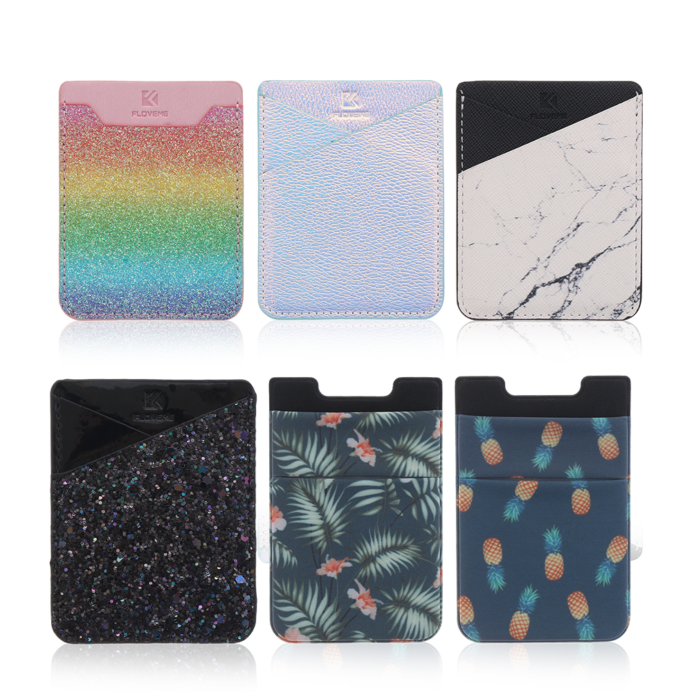 1Pcs Adhesive Sticker Back Cover Credit Card Holder Bag Case Pouch For Cell Phone Women Men ID Bus Card Key Wallet Purse