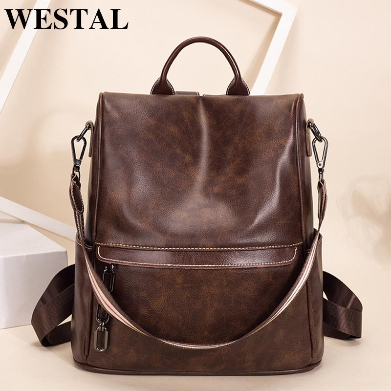 WETSAL Vintage Women's Backpack For Laptop Female Backpack Genuine Leather School Bag For Girls Shopping Travel Backpack Women