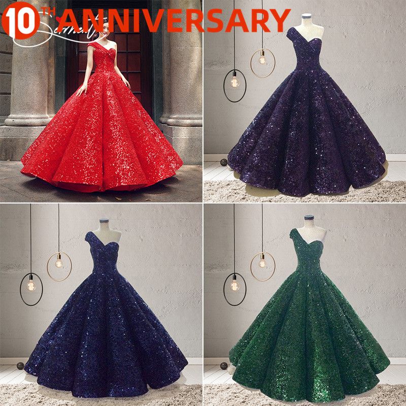 OllyMurs Vintag Colorful Sequins Flash Wedding Dress Word Gradient Gradient Sequins Burst Gold Bride Wedding Custom-made Large S