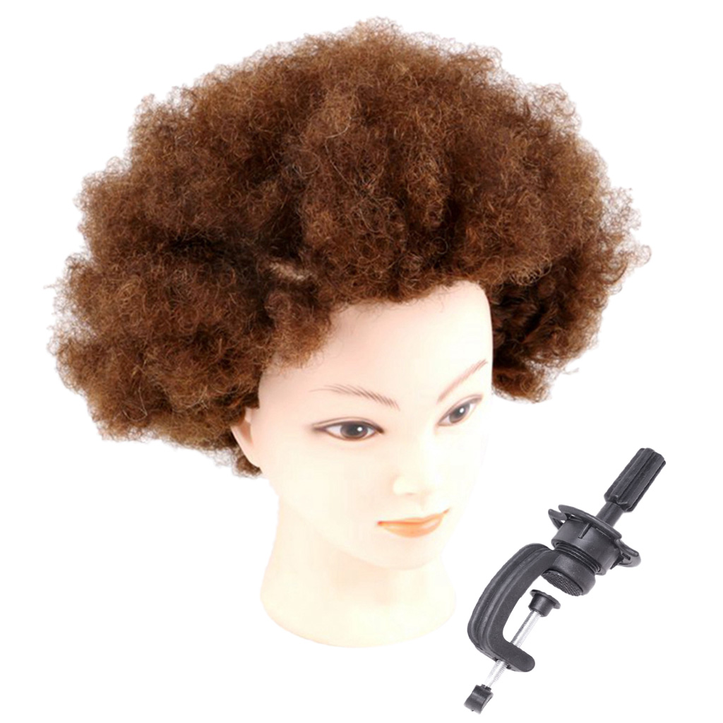 Thick Afro Human Hair Cosmetology Practice Mannequin Braiding Head Clamp Set
