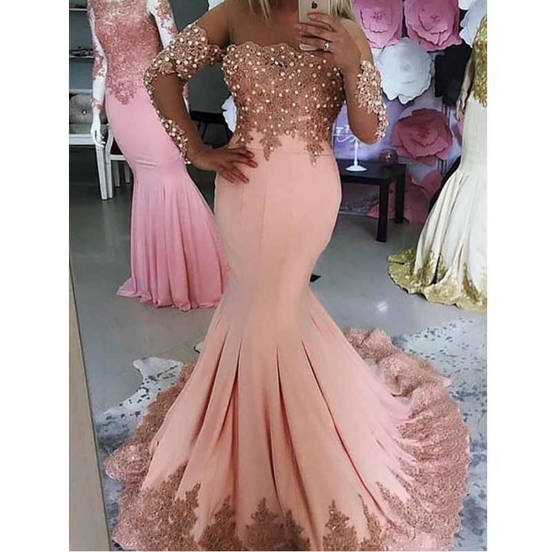 2019 New Sale Fall Blush Pink Mermaid   Prom     Dresses   With Long Sleeves Lace Appliques Pearls Zipper Back Formal Evening   Dresses