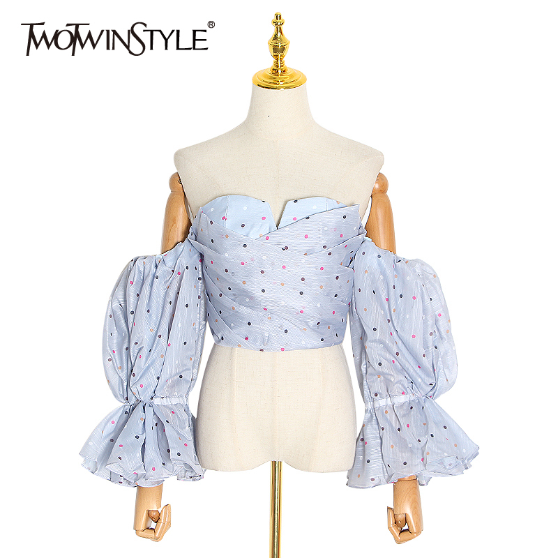 TWOTWINSTYLE Sexy Polka Dot Women Blouses Slash Neck Off Shoulder Strapless Puff Sleeve Shirts Female Fashion 2020 Clothing Tide