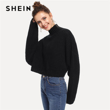 SHEIN Black Solid High Neck Crop Boxy Autumn Sweater Women Tops 2019 Winter Streetwear Long Sleeve Casual Ladies Sweaters(China)
