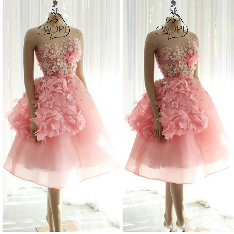 2019 Arabic Pink Short Evening   Dress   Beaded 3D Flowers Knee Length   Prom     Dresses   Sheer Neck Formal Party Bridesmaid Pageant Gowns