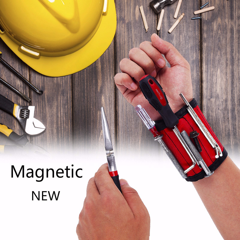 2020 New Magnetic Portable Wristband Tool Bag Electrician Wrist Tool Belt Screws Nails Drill Bits Bracelet For Repair Toolbox