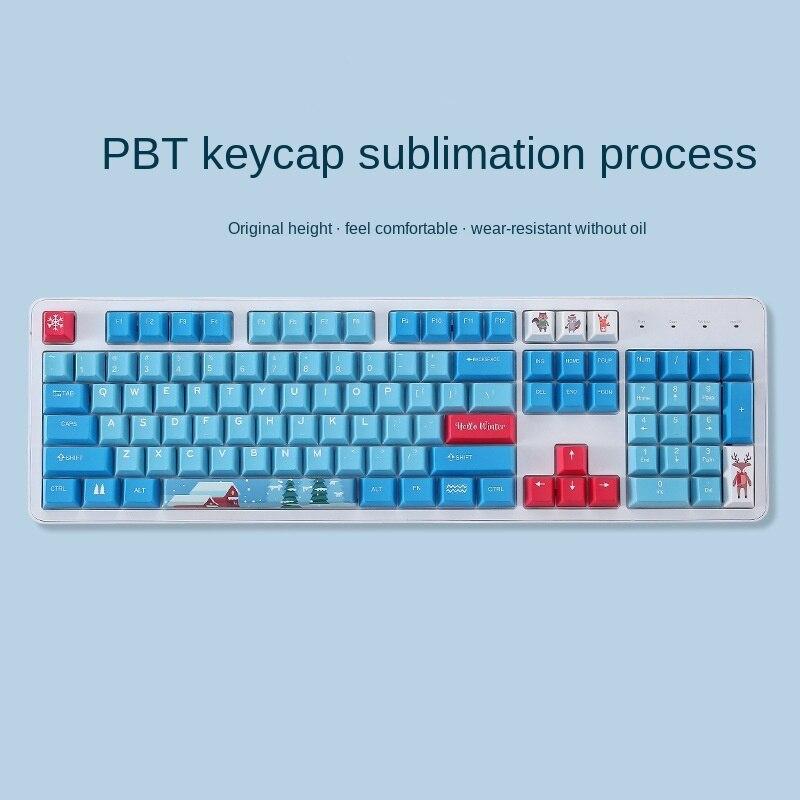118 Key Winter Animal Theme Keycap PBT Sublimation Craft Cartoon Keycap Cherry Highly Personalized Mechanical Keyboard Keycap