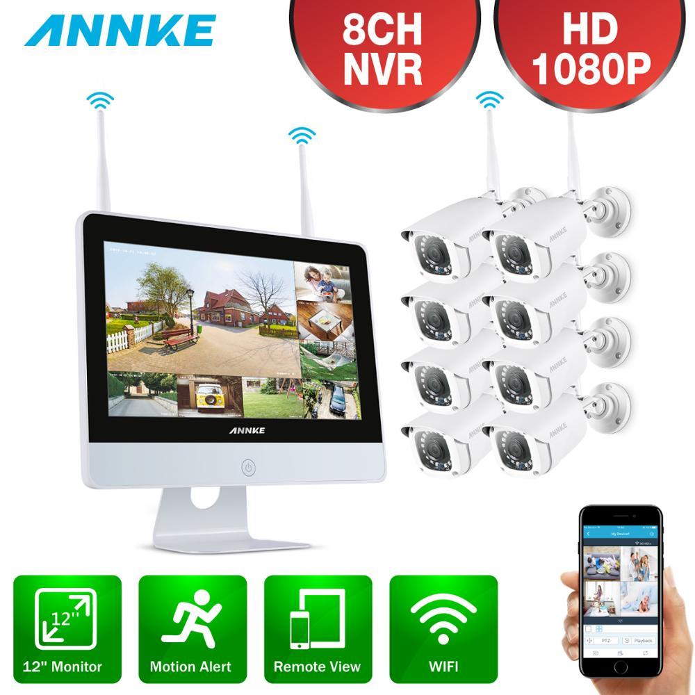 ANNKE 8CH FHD Wi-Fi Wireless NVR CCTV System 4 stücke 1080P IP Kamera WIFI Im Freien Wasserdichte CCTV Sicherheit Kamera überwachung Kit