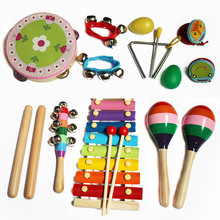 14pcs Baby Wood Musical Instrument Toys Teaching Aid Set Rainbow Rattle Music Early Education Toys for Baby Kids New Year Gifts