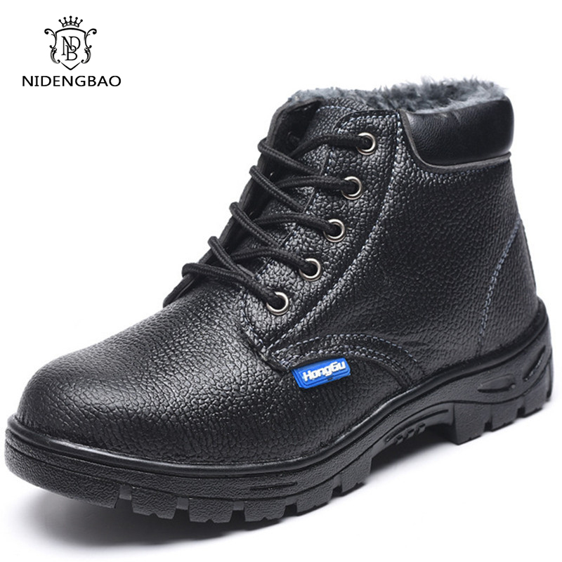 Waterproof Winter Cotton Shoes for Man Plus Velvet Thick Warm Shoes Puncture-Proof Indestructible Steel Toe Safety Boots Casual image
