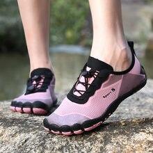 Verão água sapatos mulher aqua upstream sapatos de praia ao ar livre malha respirável descalço unisex tênis de ginásio cinco dedos sapatos