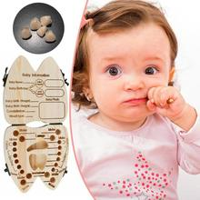 Wooden Baby Kids Tooth Storage Box Baby Tooth Box English Mi