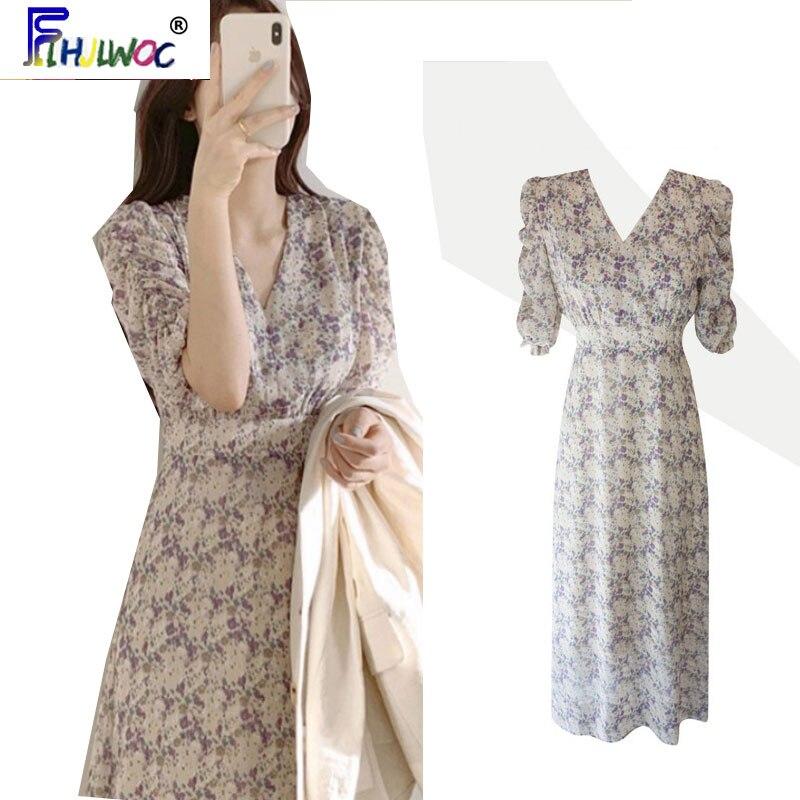 Temperament Chic Dress  Hot Sales Women Summer Flhjlwoc Japanese Korea Style Floral Print Retro Vintage Cute Dress Long 5615