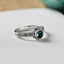Gaku Silver 925 Jewelry Inlay Cool Fashion Green Crystal Ring Face Baroque Style Vintage
