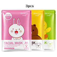 Женская маска для лица с изображением животных из мультфильма, 3 шт., маска для лица, увлажняющая эссенция коллагена, отбеливающая маска