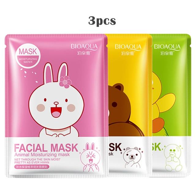 Cartoon zwierząt 3 sztuk pielęgnacja skóry kobiety twarzy arkusz maski naturalna esencja olejek nawilżający kontrola Essence kolagen maska wybielająca