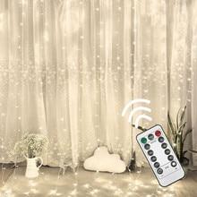 Светодиодный гирлянда-сосулька, Рождественская гирлянда, гирлянда для улицы, дома, для свадьбы/вечерние/занавески/украшения сада, дистанционное управление