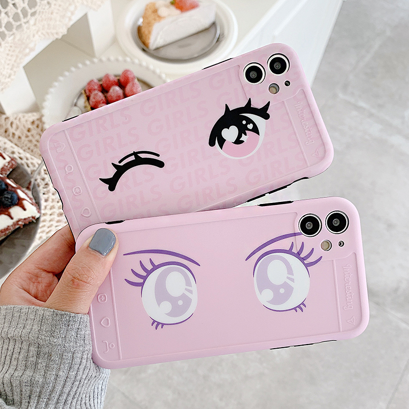Camera Protection Lovely Face Cartoon Phone Case For IPhone 11 Pro Max XR XS Max 7 8 Plus X SE 2020 Soft IMD Cute Back Cover