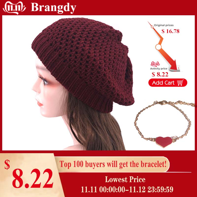 French Vintage Slouchy Women Knitted Beret Hats Autumn Winter Baggy Acrylic Beanies For Ladies Girls Warm Bonnet Skullies Cap