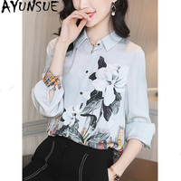 Women's Shirt Real Silk Vintage Blouse Women Clothes 2020 Ladies Tops Long Sleeve Floral Shirts Women Blouses Ropa Mujer MY5829