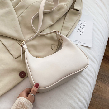 Half Moon Design Small PU Leather Crossbody Bags For Women 2020 Luxury Solid Color Shoulder Handbags Lady Simple Travel Bag