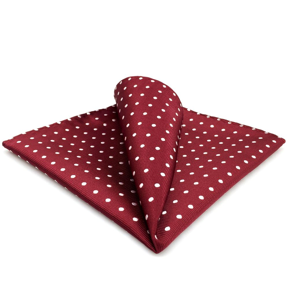 Dots Red Crimson White Pocket Square Mens Suit Gift Handkerchief